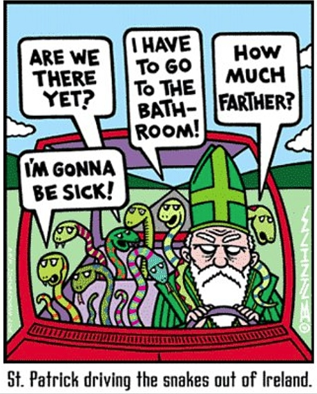 St Patrick snakes out of Ireland